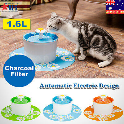 Automatic Flower Water Drinking Fountain Pet Bowl Drink Dish Filter+Silicone Mat