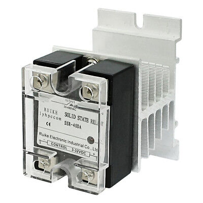 RUIKE DC 3-32V to AC 24-480V 40A Single Phase SSR-40DA Solid State Relay X7Y9