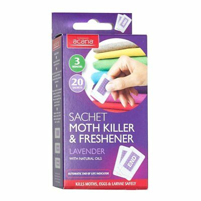 Acana Moth Killer Freshener Sachets With Lavender Fragrance Pack Of 20 Brand New