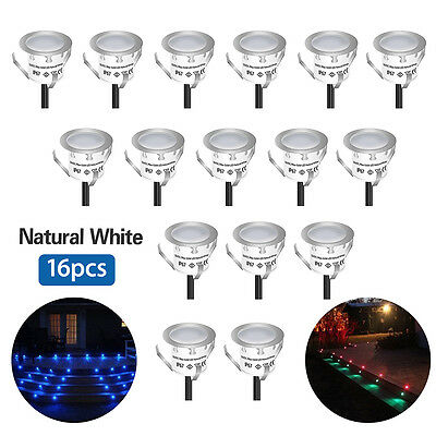 16X DC12V White Home Decoration Recessed LED Rail Stair Lights Set+Power Supply