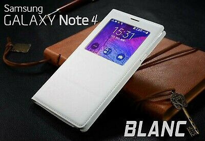 Housse Etui Flip S View Blanc Samsung Galaxy Note 4 Auto Smart Case Cover