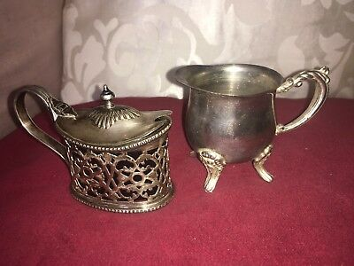 Antique Silver Plated Elegant Mustard Pot Makers JH&S and an Ornate Cream Jug