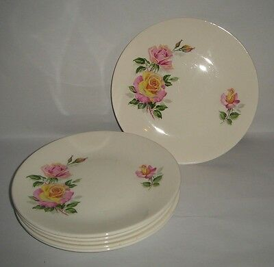 Lot of 6 Vintage Cake Plates Pink & Yellow Roses Ridgway Staffordshire England