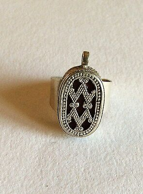 Vintage silver and glass middle eastern ring