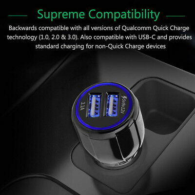 Quick Charge QC3.0 Dual USB Car Cigarette Lighter Fast Charger 3.1A LED Light