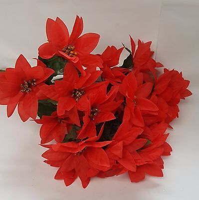 CHRISTMAS FLOWERS ARTIFICIAL RED POINSETTIAS 7 HEADS PER BUNCH x 3 BUNCHES