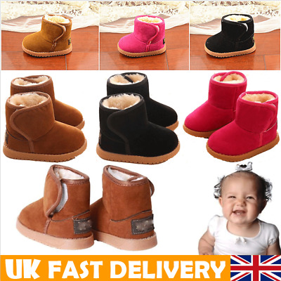 UK Babies Winter Warm Fur Boots Thick Snow Shoes For 1-6 Years Kids Boys Girls