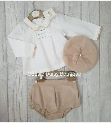 ☆ Stunning Baby Boys Camel Jam Pants & Shirt Set with Matching Cap-Mintini Baby☆