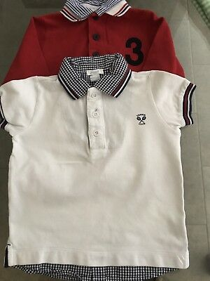Lot Of 2 Jacadi Boys Polo Shirts Size 4A, Red/blue