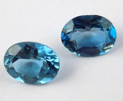 2 Pcs Natural Swiss Blue Topaz Oval 7x9mm Faceted Loose Gemstone For Jewelry