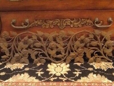 Vintage Cast Iron Salvage Roses Leaf Vine Architectural Accent Wall Decor