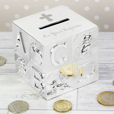 On Your Baptism Silver Plated ABC Cube Money Box Unique Keepsake Gift