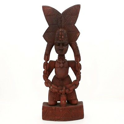 "Vintage 30"" Mayan Aztec Mayan Hand Carved Wooden Warrior Native Tribal Statue"