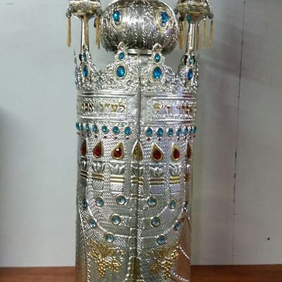 Beautiful New case for Torah scroll  gold , silver plated with Rimonim and Etzba