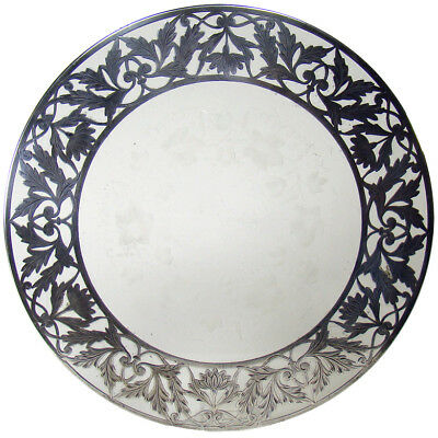 Large Sterling and Carved Glass Tray c.1890