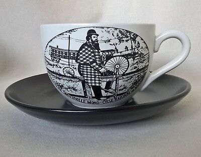 "Oversize Portmeirion Cup and Saucer ""Velocipedes"". Mono-Cycle Railway 1889"