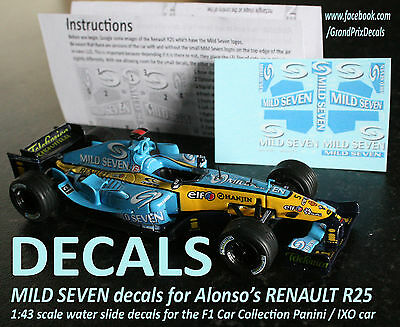 Formula F1 Car Collection water slide DECALS - ALONSO MILD SEVEN Renault R25