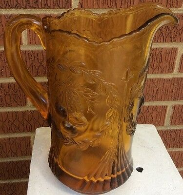 WREATHED CHERRY ~ DUGAN Amber - Water Pitcher