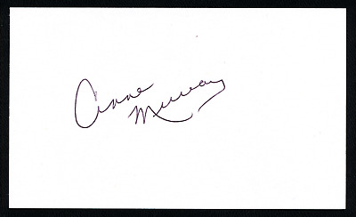 Canadian Singer Anne Murray Autographed Index Card With Coa