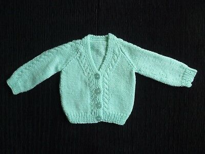 Baby clothes UNISEX BOY GIRL Newborn 0-1m NEW!aqua hand-knit cardigan SEE SHOP!