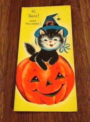 Vintage Halloween Card Vintage Cat Halloween Unused Greeting Card Halloween Cat