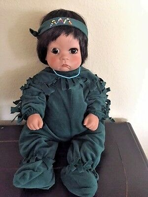 """Native American Porcelain Indian Baby """"Sugarbritches"""" Doll, Artist Deati Tucker"""