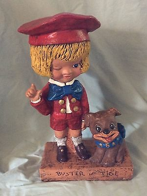 Rare 1972 Buster Brown And Tige Chalkware Display - Near Mint!!