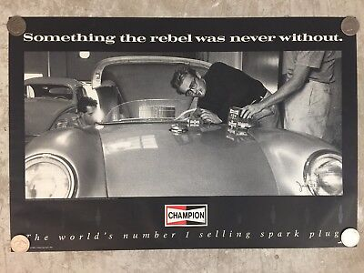 Porsche 550 Spyder James Dean Champion Spark Plug Poster RARE Black Awesome L@@K