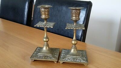 Antique Solid Cast Brass Candlesticks Art Nouveau Beautiful Very Rare