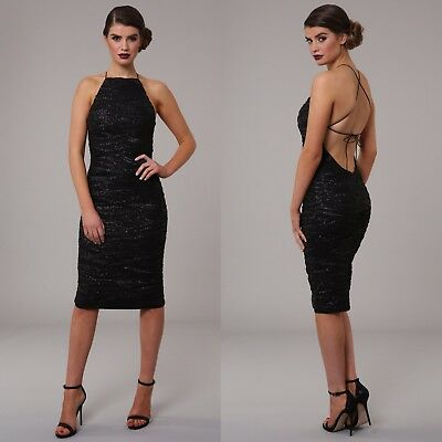 Womens Honor Gold Luxe Sequin Backless Design Midi Evening Cocktail Party  Dress bcb5704c6