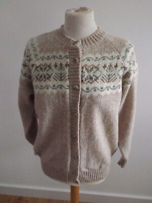 Highland Craft Vintage Pure New Wool Nordic Fairisle Cardigan Size approx 14/16