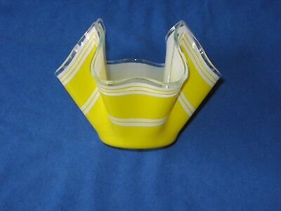 Vintage retro yellow Chance Glass handkerchief vase