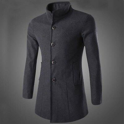 Fashion Men's Winter Wool Coat Trench Coat Warm Outwear Overcoat Long Jacket