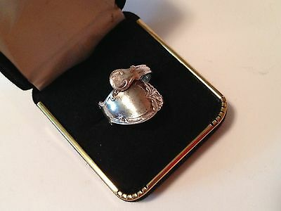 Vintage Sterling Silver Baby Spoon Wrap Ring Size 6.25 Adjustable