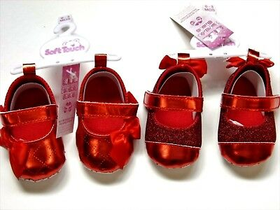 Baby Girl Pram Shoes With Glitter And Bows