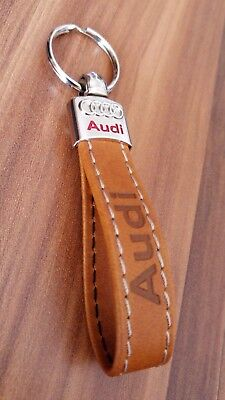 AUDI Keyring Brown Tan Eco Leather Key Chain Car A1 A3 A4 A5 A6 A7 TT S line RS