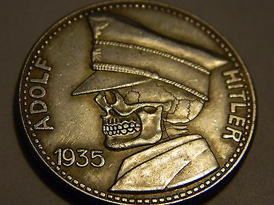 1935 Skeleton Zombie Skull Adolf Hitler Germany 5 Reichsmark Hobo Nickel Coin