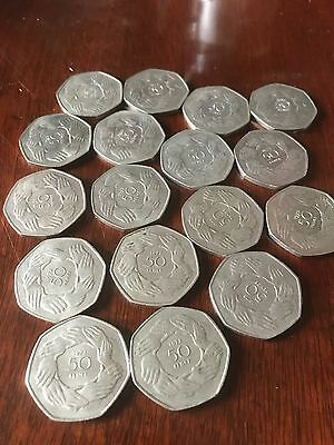 1973 UK Entry to EEC LARGE linked hands old 50p Coin