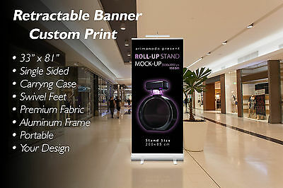 "Retractable Banner 33""x 81"" - Free and Fast Custom Printing - Free Shipping!"