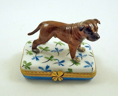 New Hand Painted French Limoges Box Pit Bull Terrier Dog On Lucky Clover Leaves