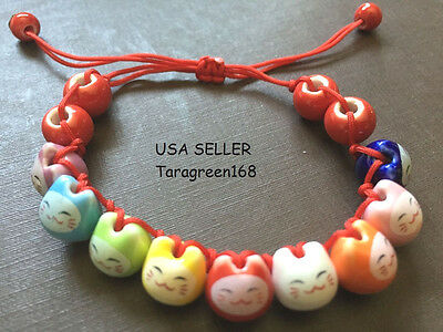 CERAMIC Charm  Lucky Cat Bracelet Fortune Money Handmade SIZE ADJUST