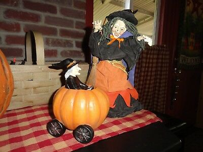 vintage halloween witch and witch in pumpkin lot of 2