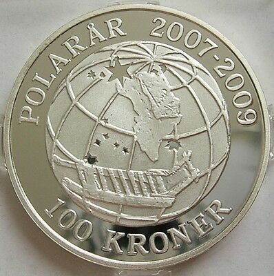 2008 DENMARK 1oz SILVER PROOF 100 KRONER COIN  DANISH NAVY'S ELITE SIRIUS PATROL