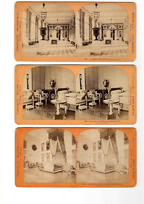3 Stereoscopic Stereo View Card of Imperial Residences