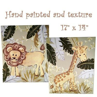 Canvas NURSERY Child Baby Safari Jungle Hand-Painted 2 piece set unique décor