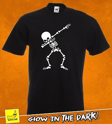 Skeleton Dab Halloween T-Shirt Glow Skull Scary Costume Spooky Fancy Body Tee
