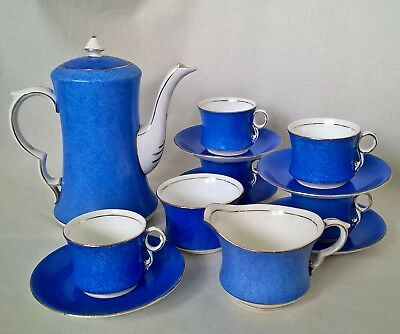 Carlton Ware Art Deco Coffee Set. 13 Pieces in Striking Blue. Excellent, Unused