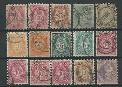 NORWAY o 1882/85 Posthorn 21mm el/st typi +x+ Lot of 15 +x+ NK#38/47 Fine Used
