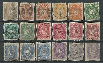 NORWAY o 1886/93 Posthorn 20mm +x+ Full Set +x+ Lot of 18 +x+ NK#49-55 Fine Used