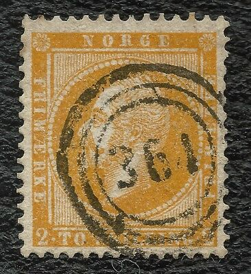 "NORWAY o 1857 Oscar 2 sk yellow ""364"" (CHRISTIANIA BYPOST) NK#2 VF/LUX"